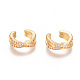 Golden Plated Brass Micro Pave Cubic Zirconia Cuff Earrings, Long-Lasting Plated, Clear, 13.2x12.5x5mm