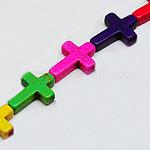 合成ターコイズビーズ連売り, 染め, クロス, ミックスカラー, 16x12x3.5mm, 穴:1mm