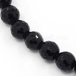 Synthetic Black Stone Beads Strands, Dyed, Faceted Round, Black, about 6mm in diameter, hole: 0.8mm