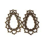 Pendentifs en alliage, sans plomb et sans cadmium et sans nickel, goutte , bronze antique, Longueur 48mm,  largeur de 32 mm, épaisseur de 1.5mm, Trou: 1.5mm