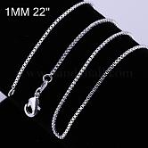 Brass Box Chain Fine Necklace Making, with Lobster Claw Clasps, Silver Color Plated, 22