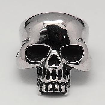 Прохладно Хэллоуин украшения черепа кольца для мужчин, 316 хирургическое широкое кольцо из нержавеющей стали, античное серебро, 17~23 мм