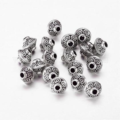 Perlas espaciadoras de aleación de bicono en tono plateado antiguo estilo tibetanoX-LF1152Y-NF-1