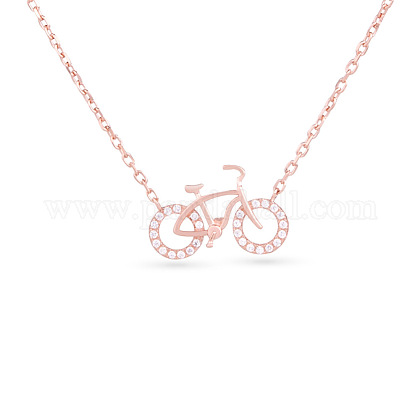 TINYSAND® Sterling Silver Cubic Zirconia Bicycle Pendant NecklacesTS-N008-RG-18-1