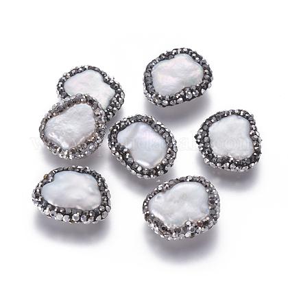 Perlas naturales abalorios de agua dulce cultivadasPEAR-F015-17-1