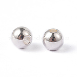 Round 304 Stainless Steel Beads, Silver Color Plated, 5x4.5mm, Hole: 1.5mm