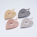 Brass Micro Pave Cubic Zirconia Pendants, Heart, Mixed Color, 48x34x2mm, Hole: 4mm