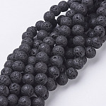 Natural Lava Beads Strands, Round, Black, 8mm, Hole: 1mm, about 49pcs/strand, 15.4inches