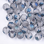 Electroplate Transparent Glass Beads, Frosted, Round with Maple Leaf Pattern, Steel Blue, 8~8.5mm, Hole: 1.5mm
