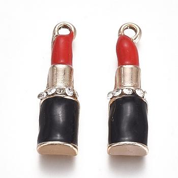 Pendenti smaltati in lega placcata oro chiaro, ciondoli per il trucco, con rhinestone di cristallo, rossetto, nero & rosso, 24.5x7x4.5mm, Foro: 1.5 mm