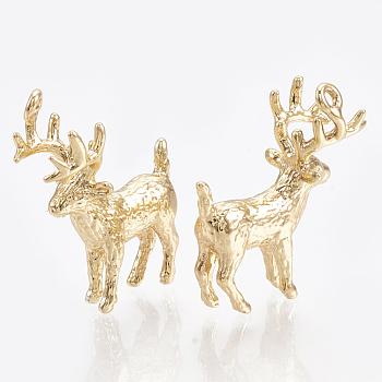 Colgantes de latón, real 18k chapado en oro, reno de navidad / ciervo, 19x16x8mm, agujero: 1 mm