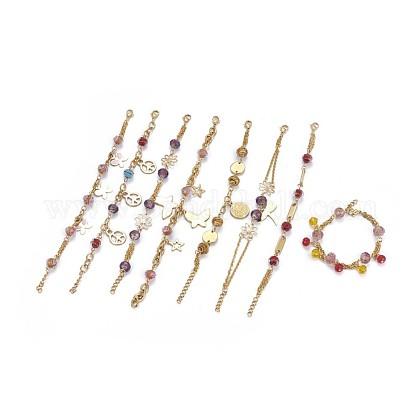 304 pulseras del encanto del acero inoxidableBJEW-F387-05G-1
