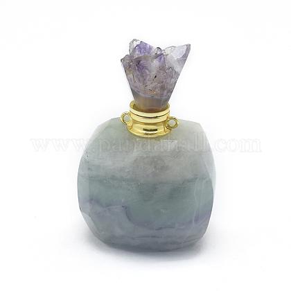 天然蛍石開閉式香水瓶ペンダントG-E556-20A-1