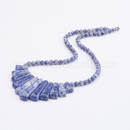 Collares con declaración de babero con cuentas de jaspe azul naturalNJEW-K083-02A-1