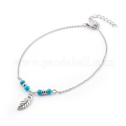 Synthetic Turquoise Charms Anklets AJEW-AN00234-05-1