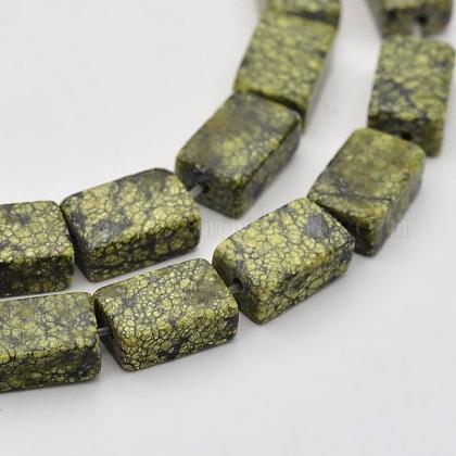 Hebras de cuentas de piedra de encaje verde / serpentina natural rectangularG-N0154-07-1