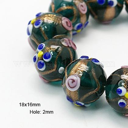 Handmade Gold Sand Lampwork Beads StrandsLAMP-G046-18x16mm-2-1