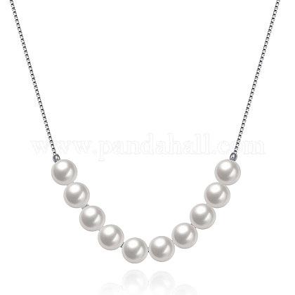 925 libra esterlina collares de abalorios concha de plata de la perlaNJEW-BB18719-1