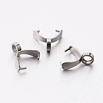 304 Stainless Steel Pinch Bails, Ice Pick Pinch Bails for Pendant Makings, Stainless Steel Color, 8.5x3.5mm, Hole: 2.5mm, Pin: 0.6mm