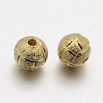 Круглых бусин латунные, золотые, 6 мм, отверстие : 1.2 мм