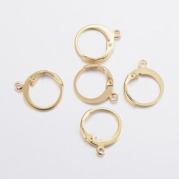 Fornituras del pendiente de 304 acero inoxidable, con bucle, dorado, 14x12x2mm, agujero: 1.2 mm; pin: 0.6x1 mm