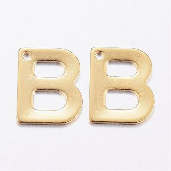 304 Stainless Steel Charms, Letter, Initial Charms, Letter.B, 11x6~12x0.8mm, Hole: 1mm