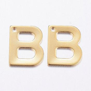 Encantos de 304 acero inoxidable, carta, encantos iniciales, letter.b, 11x6~12x0.8mm, agujero: 1 mm