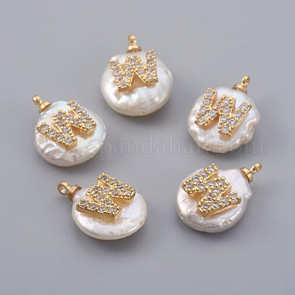 Natural Cultured Freshwater Pearl PendantsX-PEAR-F008-30G-W-1