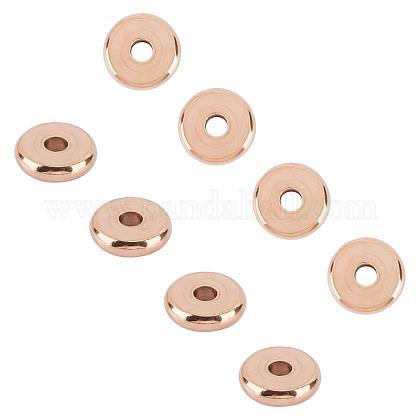 Unicraftale environ 30pcs perles d'espacement de beignet en or rose 10mm perles de placage sous vide en acier inoxydable perles en vrac accessoires de perles dount pour le bricolage bracelets colliers fabrication de bijouxSTAS-UN0008-97RG-1