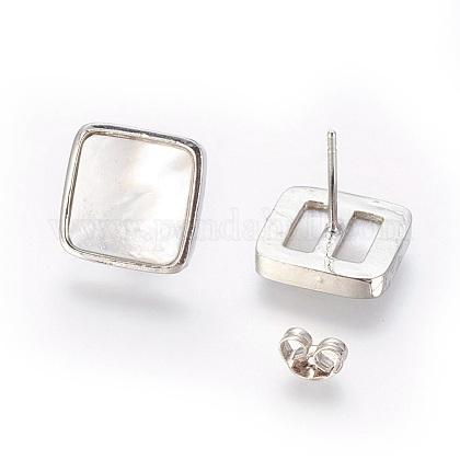 Brass Stud EarringsEJEW-E252-06D-1