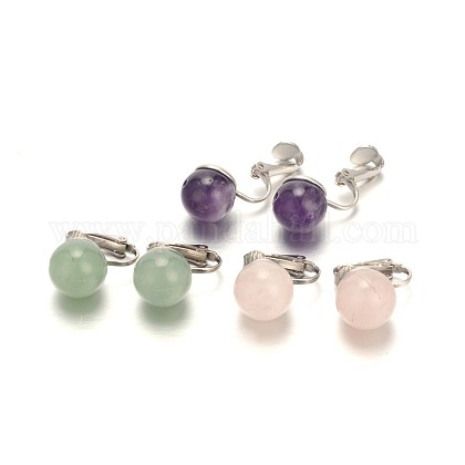 Gemstone Clip-on EarringsEJEW-JE01517-1