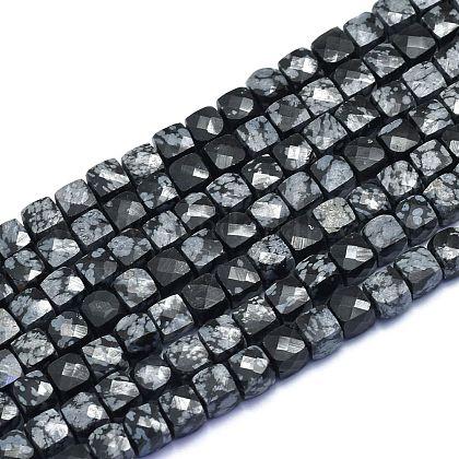 Природные снежинка обсидиан бисер нитейG-K310-B13-1