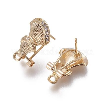 Brass Micro Pave Cubic Zirconia Stud Earring FindingsKK-O121-22G-1
