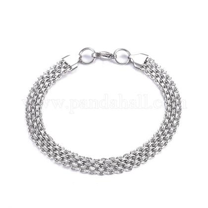 304 pulseras de cadena de malla de cadena de cable de acero inoxidableBJEW-G631-10P-1