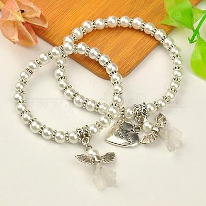 Encantadores conjuntos de joyas ángel vestido de boda para la madre y la hijaBJEW-JB00728-19-1