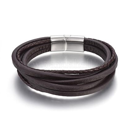 Cordón de cuero pulseras de varias vueltasBJEW-E352-38A-P-1