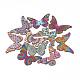 Деревянные подвески, бабочка со смешанным рисунком, разноцветные, 45x70x2.5 мм, отверстие : 1.8 мм