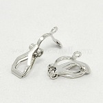 Brass Clip-on Earring Findings, for non-pierced ears, Platinum Plated, Nickel Free, about 6mm wide, 13mm long; 7mm thick; hole: 1mm
