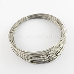 Stainless Steel Wire Necklace Cord DIY Jewelry Making, with Brass Screw Clasp, DarkGray, 17.5