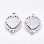 Conectores de enlaces de acero inoxidable 201, enlaces de corte por láser, plano y redondo con corazón, color acero inoxidable, 19x15x1mm, agujero: 1.5 mm