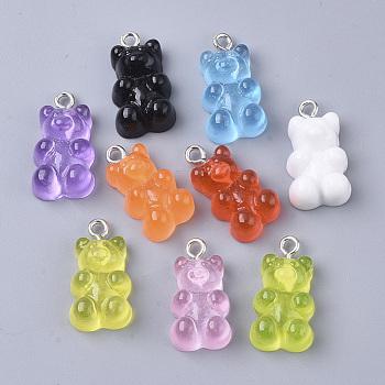 Ciondoli di resina, con anello in ferro placcato platino, cibo imitazione, orso, colore misto, 20.5~22.5x11.5x7mm, Foro: 2 mm