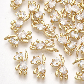 Brass Cubic Zirconia Charms, Bear, Clear, Real 18K Gold Plated, 12x6x3mm, Hole: 1mm