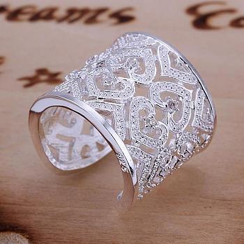 Laiton mode zircone cubique anneaux manchette de doigt, taille 8, platine, 18.1mm