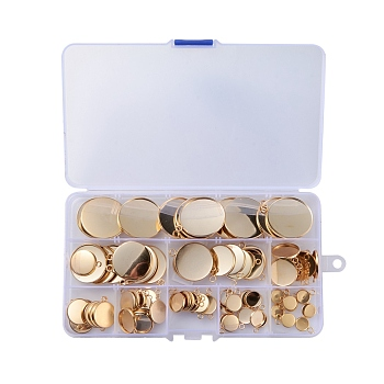 304つのステンレス鋼のペンダントカボション設定, プレーンエッジベゼルカップ, フラットラウンド, ゴールドカラー, トレイ:8~30.5mm; 19.5~37x16~32x2mm, 穴:3ミリメートル; 90個/箱