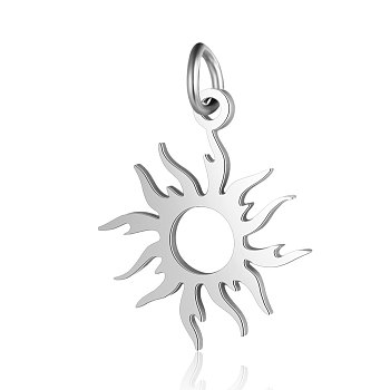 201 Stainless Steel Pendants, Sun, Stainless Steel Color, 17x16x1mm, Hole: 3mm