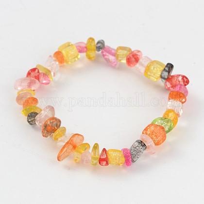 Piedras naturales mixtos los niños de abalorios pulseras strenchBJEW-JB02064-01-1