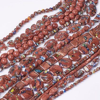 Handmade Millefiori Glass  Bead StrandsLK-P026-03-1