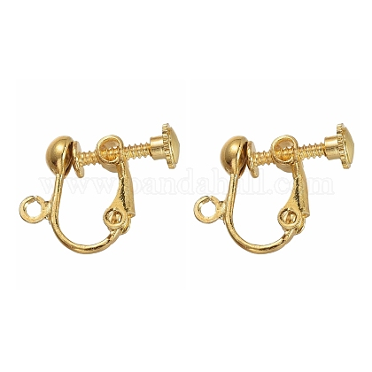 Brass Clip-on Earring Findingsfor Non-Pierced Ears X-EC143-NFG-1