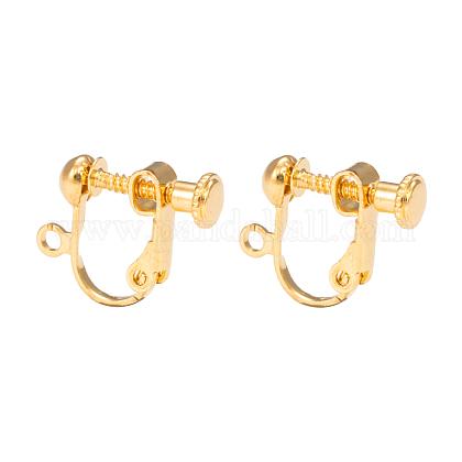 Brass Screw On Clip-on Earring FindingsKK-L164-01G-1