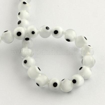 Round Handmade Evil Eye Lampwork Beads, White, 6mm, Hole: 1mm; 64pcs/strand, 14.1inches LAMP-R114-6mm-11